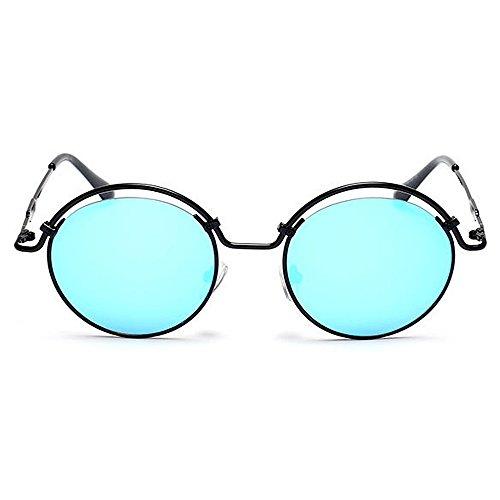 UV de Dame Gris Plein Gu pour lentille Colorée de voyageant air de en Ronde Protection Peggy Lunettes Bleu Soleil de de Couleur personnalité Femmes Rondes la voyageant des ZCw1aq0