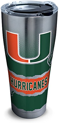 Tervis 1268407 Miami Hurricanes Knockout Stainless Steel Tumbler with Clear and Black Hammer Lid 30oz, Silver ()