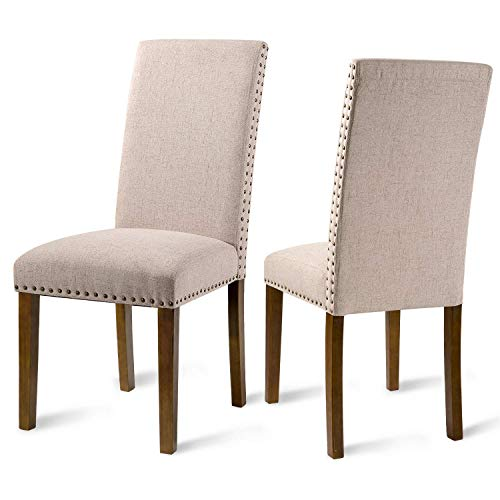Merax Fabric Upholstered Dining Chairs Set of 2 with Copper Nailhead Trims and Solid Wood Legs (Beige)