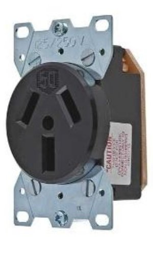 Hubbell Wiring Systems HBL7962 Straight Blade Heavy Duty Specification Grade Single Flush Receptacle, 50 Amp, 125/250VAC, 3 Pole, 3 Wire, Black