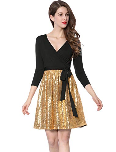 Allegra K Women's V-Neck Sequin Panel Party Wrap Dress with Belt XL Gold Black
