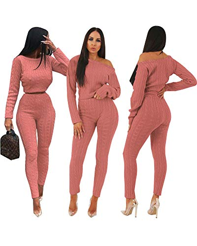 2 Pink Piece Outfit (Women Pink 2 Piece Outfits Knitted Crop Tops Skinny Pants Sets Jumpsuits S)
