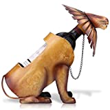 Lion Wine Bottle Holder Metal Wine Racks Countertop Freestanding Stainless Steel Sculpture Figurines Wine Shelf Bottle Storage Display Funny Home Decoration Crafts (11.5x6.1x10.8 inch, 1 Bottle)