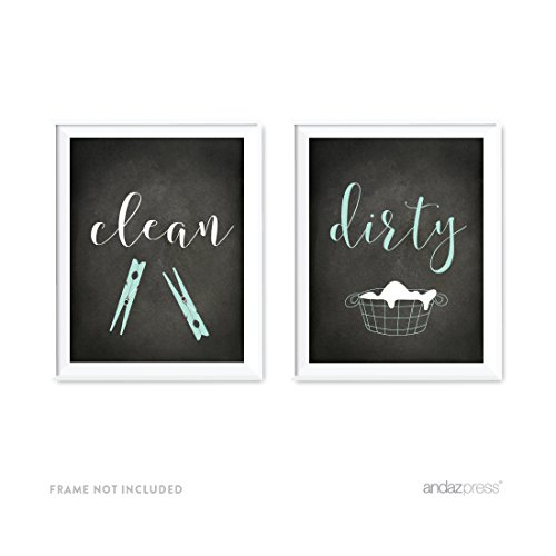Dirty Laundry Print - Andaz Press Laundry Room Wall Art Decor, Chalkboard Print, Clean Dirty, 2-Pack, Poster Signs Unframed