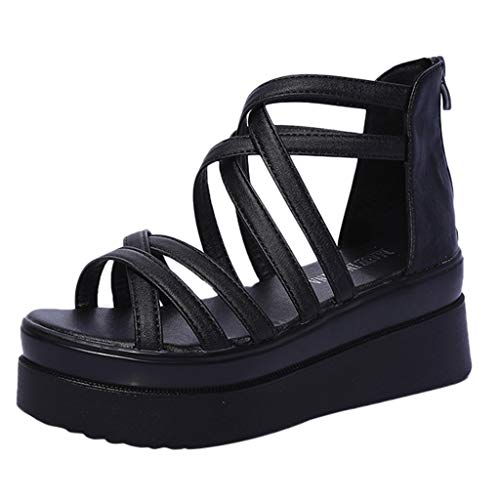 Lelili Women Fashion Summer Sandals Round Toe Cross Strap Muffin Bottom Non-Slip Platform Shoes Flip-Flop