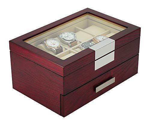 (DecoreBay Executive Cherry Oak Wood 20 Slot Watch Box and Jewelry Box Storage (Darling))