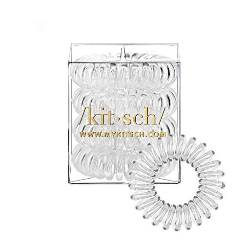 Kitsch Spiral Hair Ties, Coil Hair Ties, Phone Cord Hair Ties, Hair Coils - 4pcs, Transparent