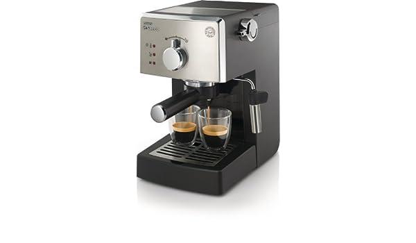 Saeco Poemia HD8425/09 Independiente Manual Máquina espresso 1L 8tazas Negro, Cromo - Cafetera (Independiente, Máquina espresso, 1 L, De café molido, ...