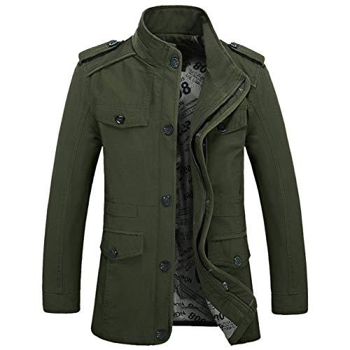 Homme Éclair Longue Slim Chaud Trench Blouson Manteau Veste coat Boutons Hiver Vert Outwear Hommes Fermeture v44Pdq