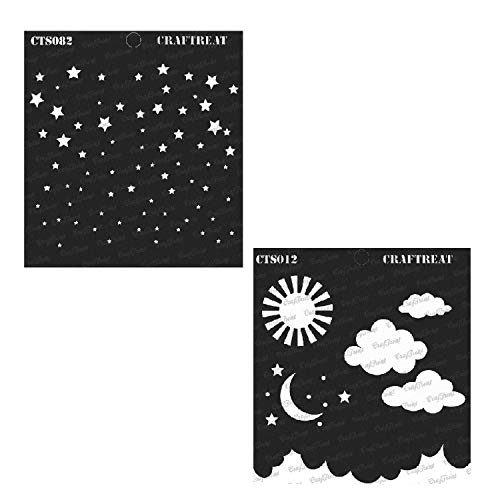 (CrafTreat Stencil - Starry Sky & Clouds and Stars (2 pcs)   Reusable Painting Template for Home Decor, Crafting, DIY Albums, Scrapbook and Printing on Paper, Floor, Wall, Tile, Fabric, Wood 6
