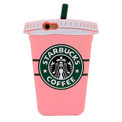 iPhone 6 Case, iPhone 6s Case, iPhone6 Regular, Soft Silicone Rubberized Material, 3D Cartoon Design, Cool Fun Luxury Designer Fashion Style, Gift for Men Girls (Pink Starbucks Coffee)
