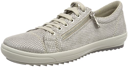 Rieker Women's Pale Gray Sparkling Leather Lace Up Fashion Sneaker UK 4 - EU 37 - US 6 by Rieker