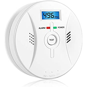 Smart Combination Smoke and Carbon Monoxide Detector Alarm Battery Operated Digital Display for Travel Home Bedroom and Kitchen