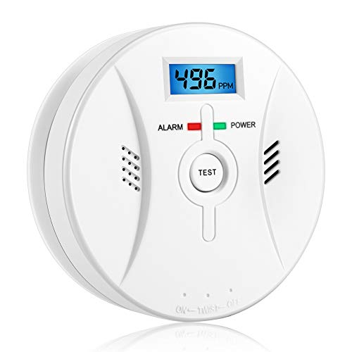 Combination Smoke and Carbon Monoxide Detector Alarm Digital Display for Travel Home Bedroom and Kitchen 9V Battery Operated