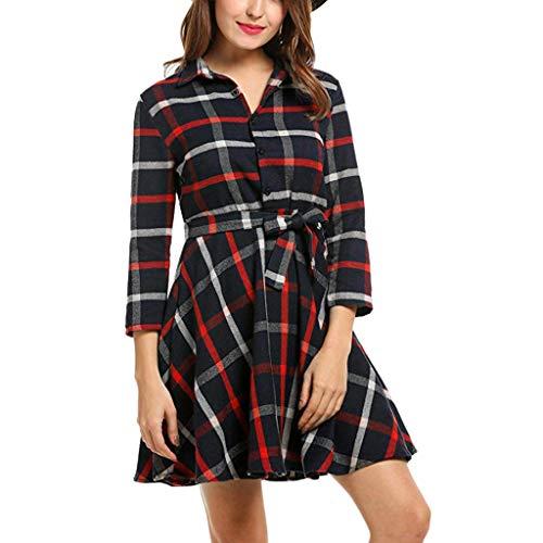 - Pandaie-Womens Dresses, Women Lapel 3/4 Sleeve Plaid Belted Casual A-line Swing Dress Mini Dress