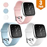 Maledan Replacement Bands for Fitbit Versa, Classic Accessory Sport Band for Fitbit Versa Smart Watch Women Men, 3-Pack, Large Small