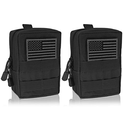 YDa Molle Pouch 2 Pack Tactical EDC Pouch Organizer for Tactical Backpack (Black+US Flag Patche)