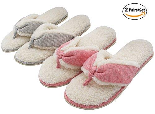7730b7d63c15e UltraIdeas Women s Comfort French Terry Plush Lining Memory Foam Spa Thong  Flip Flops House Indoor Slippers (M  7-8 B(M) US