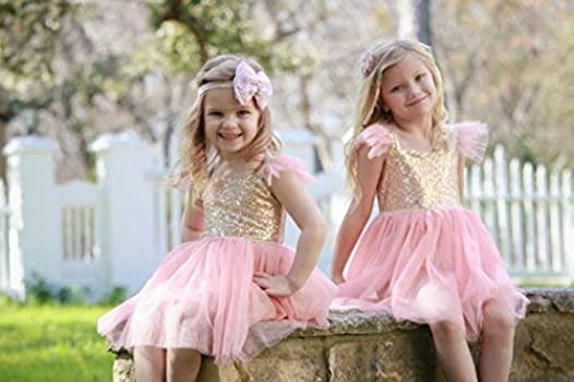 Girls Tutu Sequin Dress Gold and Pink Gauze Camisole Layered Valentine Dress