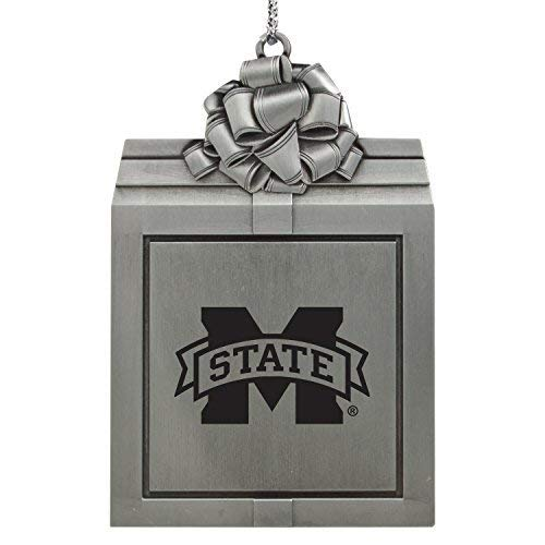 - Mississippi State University -Pewter Christmas Holiday Present Ornament-Silver