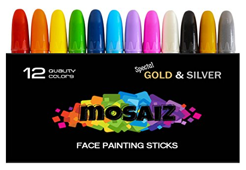Face Paint Crayon 12 Color (Gold and Silver Included) | Sticks for Kids | Washable Twistable Crayons | Great Kit For Kids Face Hair Body Painting | Water Based Non-Toxic (Black Light Sensitive Paint)