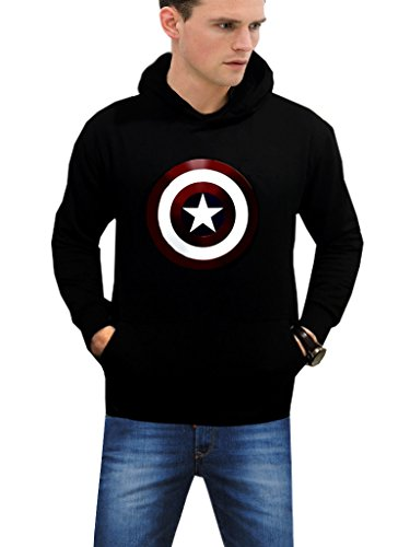 Superhero Chris Evans Steve Rogers Captain America Logo Black Fleece Hoodie (S, Black)