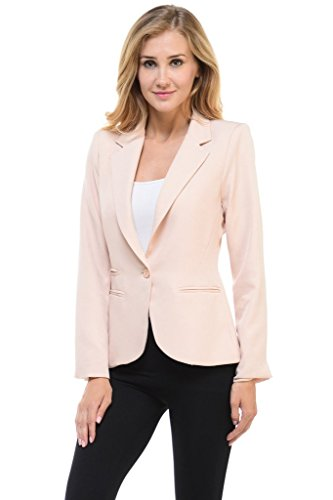 Auliné Collection Women's Candy Color Long Sleeve Lined Blazer Beige XL Lined Tailored Blazer