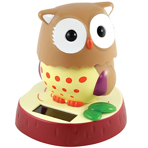 Owl Solar Powered Shaker Figure - Head Constantly Swivels Needs No Batteries Smith Bobble Head