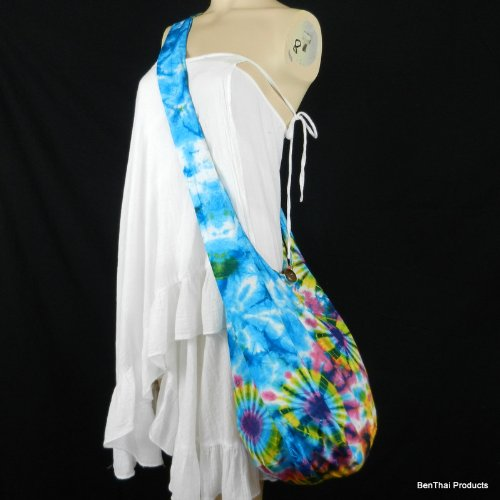 BTP Firework Shoulder Hobo Purse Tie Vi Sling Bag Bohemian Crossbody 1 Cotton Dye Blue Hippie Colorful Triple 7R7qAr