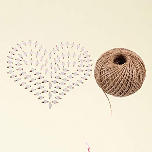 101pcs Picture Clips Set with Jute Twine Wood Craft Clips Photo Pins Clothepins with White Heart Pattern (100pcs Clips and 1pc 100Yard String) by BESTOYARD (Image #1)
