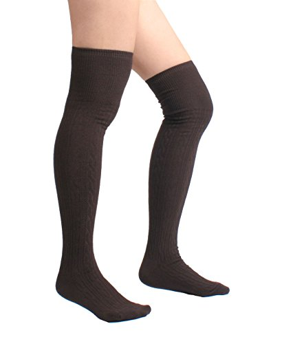 Cotton Cable Knit Over the Knee High Socks (One Size, Brown)