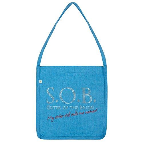 Twisted Envy S.O.B Sister Of The Bride Rhinestone Tote Bag Blue