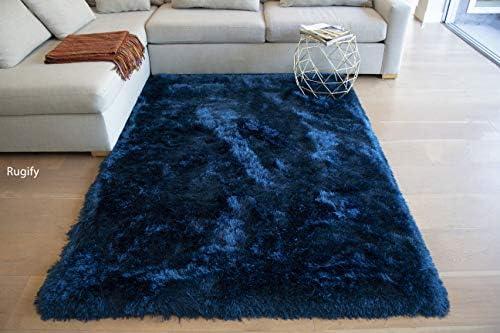 LA Rug Linens Shaggy Shag Navy Blue Dark Blue Color Area Rug Carpet Rug 8 Feet x 10 Feet Large Hand Woven Solid Cozy Contemporary Modern Luxury Comfortable Soft Living Room Bedroom Decorative