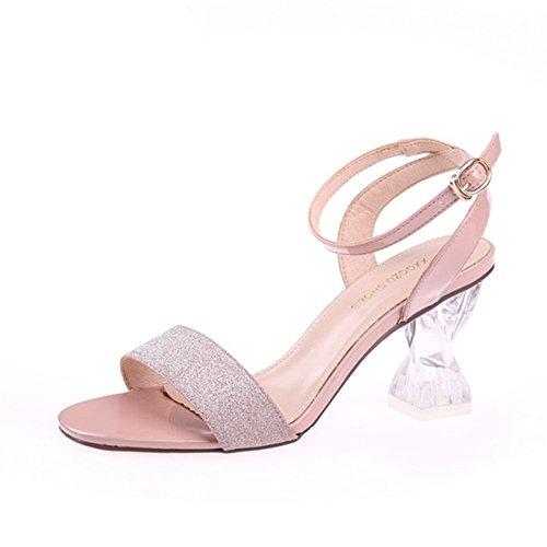 Pies KPHY Verano Lentejuelas Dedos Los 8Cm Tacones Tacones Pink Crystal Hollow Gruesos Altos Sandalias De Hebillas Shoes r0xqTwrEnY