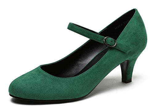 CAMSSOO Women's Closed Toe Low Mid Heel Ankle Strap Dress Pump Shoes Green Velveteen Size US7 EU38 ()