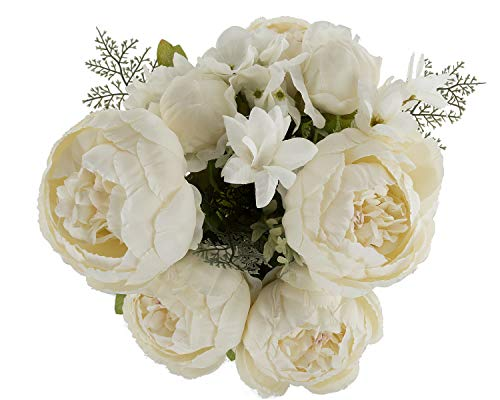EZFLOWERY 1 Pack Artificial Peony Silk Flowers Arrangement Bouquet for Wedding Centerpiece Room Party Home Decoration, Elegant Vintage, Perfect for Spring, Summer and Occasions (1, New White) (Artificial Flower Peony)