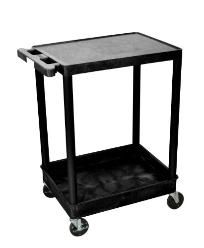 H Wilson STC21-B STC Series 18 x 24 Inch 2-Shelf Utility Cart, Black ()