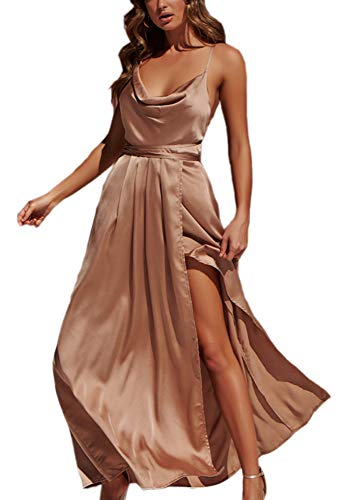 Silk Cocktail Evening Dress - Yimeili Women's Sexy Deep V Neck Backless Split Maxi Cocktail Long Party Dresses(27Color S-XXL) (S, Golden Cowl Neck)
