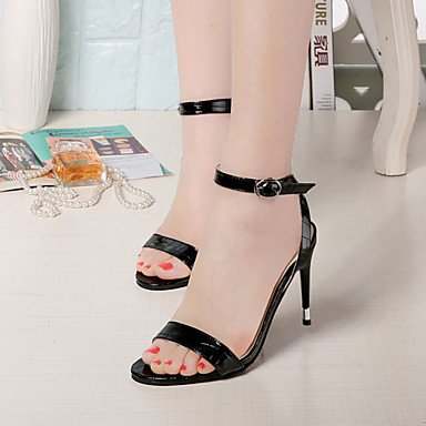 LvYuan Mujer Sandalias PU Primavera Verano Hebilla Tacón Robusto Tacón Stiletto Negro Beige Gris 7'5 - 9'5 cms gray