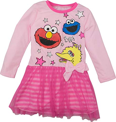 Sesame Street Toddler Girls' Tulle Dress Big Bird, Cookie Monster and Elmo (4T Pink)]()
