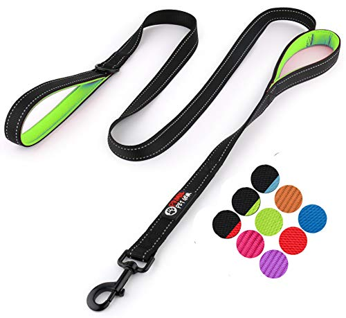 Primal Pet Gear Dog Leash 6ft Long – Traffic Padded Two Handle – Heavy Duty – Double Handles Lead Control Safety Training – Leashes Large Dogs Medium Dogs (6FT, Black-Green)