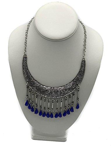 (ARYA Chandelier Style Boho Necklace in Silver Tone Finish (Blue))