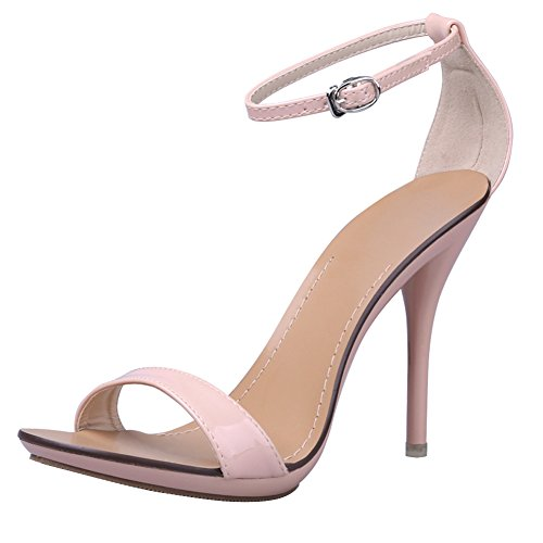Women's Classic Dancing Stiletto High Heel Open Toe Ankle Strap Sandals Nude pink Size US 8