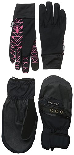 POW Women's Astra Mitt, Black, Medium (Polypro Glove Liner)
