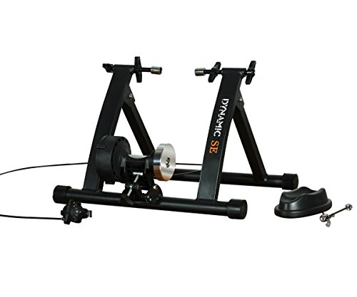 DYNAMIC SE Indoor Bike Trainer, Magnetic/ Fluid Trainer Resistance Optional with Front Wheel Riser Block and Quick Release Skewer