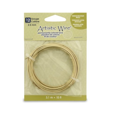 Artistic Wire 12 Gauge Wire, Tarn Resist Brass, 10-Feet ()