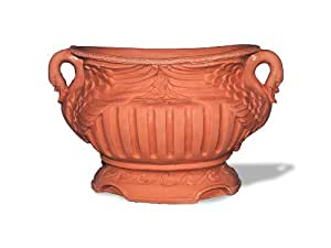 Amedeo Design ResinStone 2509-12T Swan Handle Oval Planter, 28 by 15 by 16-Inch, Terra Cotta