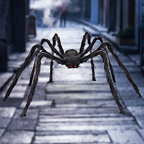 Halloween Giant Spider 6.6 FT, Libay Outdoor Halloween Decorations Large Fake Hairy Spider Scary Furry Spider Props Outside Yard Creepy Decor,