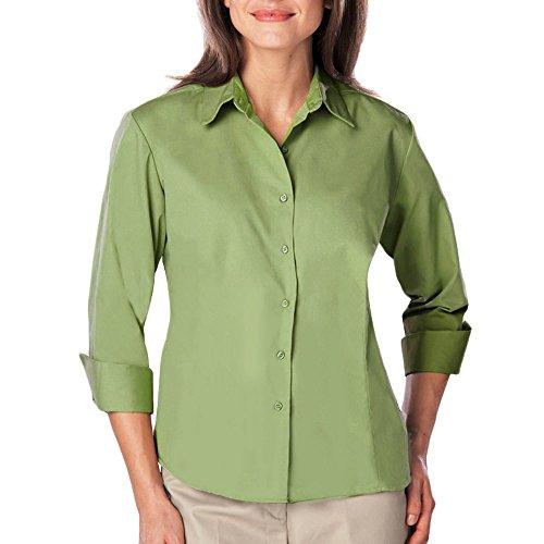 - Blue Generation BG6260 - Ladies 3/4 Sleeve Easy Care Poplin with Matching Buttons (Medium, Cactus)