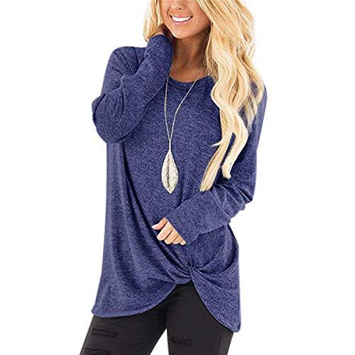 Twist Knot End - Ilfioreemio Women Knit Tunic Top Round Neck Blouse Knot Twist Front Long Sleeve Casual Soft Sweatshirt Blue M